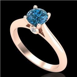 0.83 CTW Fancy Intense Blue Diamond Solitaire Art Deco Ring 18K Rose Gold - REF-87K3W - 38196