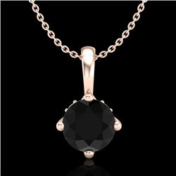 0.82 CTW Fancy Black Diamond Solitaire Art Deco Stud Necklace 18K Rose Gold - REF-63R6K - 37801