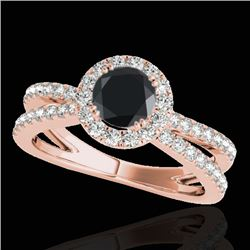 1.55 CTW Certified VS Black Diamond Solitaire Halo Ring 10K Rose Gold - REF-80A5V - 33850