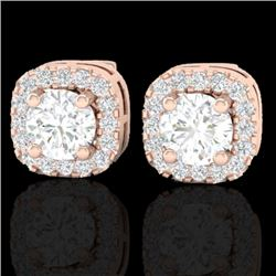 0.75 CTW Micro Pave VS/SI Diamond Earrings Designer Halo 14K Rose Gold - REF-66H2M - 21173