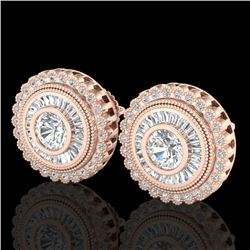 2.61 CTW VS/SI Diamond Solitaire Art Deco Stud Earrings 18K Rose Gold - REF-381H8M - 37083