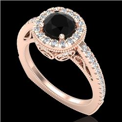 1.55 CTW Fancy Black Diamond Solitaire Engagement Art Deco Ring 18K Rose Gold - REF-136M4F - 37983