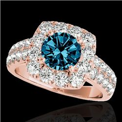 2.25 CTW SI Certified Fancy Blue Diamond Solitaire Halo Ring 10K Rose Gold - REF-229F3N - 33640