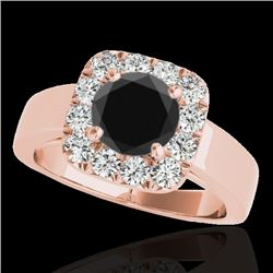 1.55 CTW Certified VS Black Diamond Solitaire Halo Ring 10K Rose Gold - REF-90Y7X - 34242