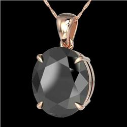 9 CTW Black VS/SI Diamond Certified Designer Solitaire Necklace 14K Rose Gold - REF-193R6K - 21894