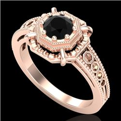 0.53 CTW Fancy Black Diamond Solitaire Engagement Art Deco Ring 18K Rose Gold - REF-81K8W - 37437