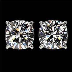 2.50 CTW Certified VS/SI Quality Cushion Cut Diamond Stud Earrings 10K White Gold - REF-840R2K - 331