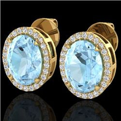 5.50 CTW Aquamarine & Micro VS/SI Diamond Halo Earrings 18K Yellow Gold - REF-96A4V - 20241