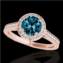 1.33 CTW SI Certified Fancy Blue Diamond Solitaire Halo Ring 10K Rose Gold - REF-174N5A - 33514