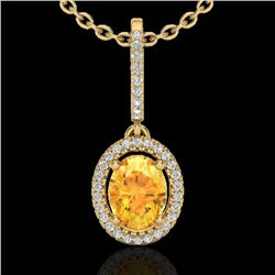 1.75 CTW Citrine & Micro Pave VS/SI Diamond Necklace Halo 18K Yellow Gold - REF-58H5M - 20657