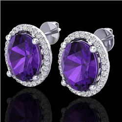 5 CTW Amethyst & Micro Pave VS/SI Diamond Certified Earrings Halo 18K White Gold - REF-76N4A - 21042