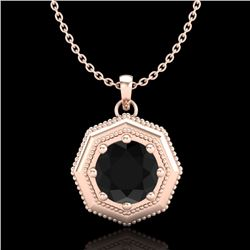 0.75 CTW Fancy Black Diamond Solitaire Art Deco Stud Necklace 18K Rose Gold - REF-44X5R - 37941