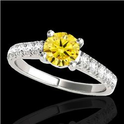 2.1 CTW Certified SI/I Fancy Intense Yellow Diamond Solitaire Ring 10K White Gold - REF-309A3V - 355