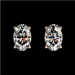 1 CTW Certified VS/SI Quality Oval Diamond Solitaire Stud Earrings 10K Rose Gold - REF-147H2M - 3306
