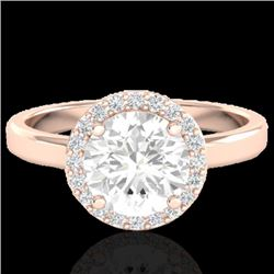 1.75 CTW Halo VS/SI Diamond Certified Micro Pave Ring Solitaire 14K Rose Gold - REF-478F9N - 21638