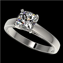 1.25 CTW Certified VS/SI Quality Cushion Cut Diamond Solitaire Ring 10K White Gold - REF-372K3W - 33