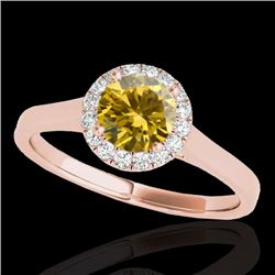 1.11 CTW Certified SI/I Fancy Intense Yellow Diamond Solitaire Halo Ring 10K Rose Gold - REF-167Y3X