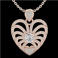 3 CTW Micro Pave VS/SI Diamond Certified Heart Necklace 14K Rose Gold - REF-739F2N - 20504