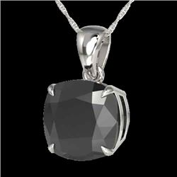 6 CTW Cushion Cut Black VS/SI Diamond Certified Designer Necklace 18K White Gold - REF-137Y6X - 2197
