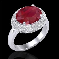 4.50 CTW Ruby & Micro Pave VS/SI Diamond Certified Ring 18K White Gold - REF-119X6R - 20922