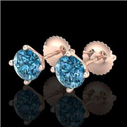 1.50 CTW Fancy Intense Blue Diamond Art Deco Stud Earrings 18K Rose Gold - REF-141H8M - 38238
