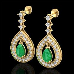 2.25 CTW Emerald & Micro Pave VS/SI Diamond Earrings Designer 14K Yellow Gold - REF-105N5A - 23152