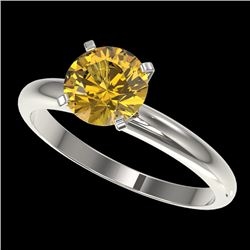 1.50 CTW Certified Intense Yellow SI Diamond Solitaire Ring 10K White Gold - REF-345V5Y - 32930