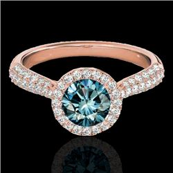 1.40 CTW SI Certified Fancy Blue Diamond Solitaire Halo Ring 10K Rose Gold - REF-170F4N - 33304