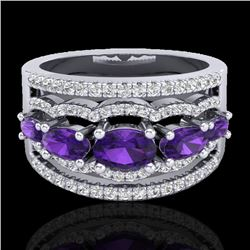 2.25 CTW Amethyst & Micro Pave VS/SI Diamond Certified Designer Ring 10K White Gold - REF-66R9K - 20