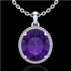 10 CTW Amethyst & Micro Pave VS/SI Diamond Halo Necklace 18K White Gold - REF-78K2W - 20601