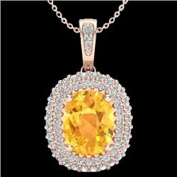 3 CTW Citrine & Micro Pave VS/SI Diamond Certified Halo Necklace 14K Rose Gold - REF-65A5V - 20410