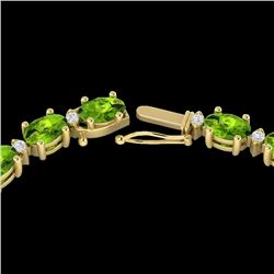 34 CTW Peridot & VS/SI Diamond Certified Tennis Necklace White 10K Yellow Gold - REF-213X6R - 21600