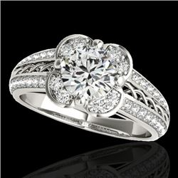 1.50 CTW H-SI/I Certified Diamond Solitaire Halo Ring 10K White Gold - REF-180R2K - 34256