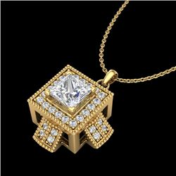 0.84 CTW Princess VS/SI Diamond Solitaire Micro Pave Necklace 18K Yellow Gold - REF-149H3M - 37192