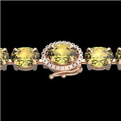 29 CTW Citrine & VS/SI Diamond Tennis Micro Pave Halo Bracelet 14K Rose Gold - REF-117W3H - 23419