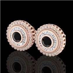 2.61 CTW Fancy Black Diamond Solitaire Art Deco Stud Earrings 18K Rose Gold - REF-236W4H - 37906