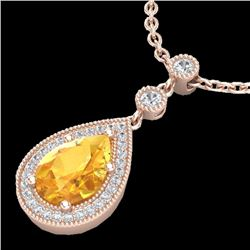 2.25 CTW Citrine & Micro Pave VS/SI Diamond Certified Necklace 14K Rose Gold - REF-38H7M - 23131
