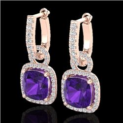 7 CTW Amethyst & Micro Pave VS/SI Diamond Certified Earrings 14K Rose Gold - REF-92Y2X - 22956