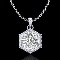 0.82 CTW VS/SI Diamond Solitaire Art Deco Stud Necklace 18K White Gold - REF-218N2A - 37220