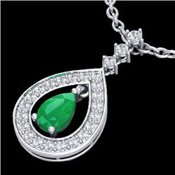 1.15 CTW Emerald & Micro Pave VS/SI Diamond Necklace Designer 14K White Gold - REF-61M8F - 23166