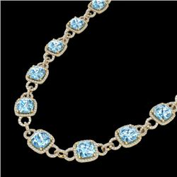 66 CTW Topaz & Micro VS/SI Diamond Certified Eternity Necklace 14K Yellow Gold - REF-805N3A - 23054