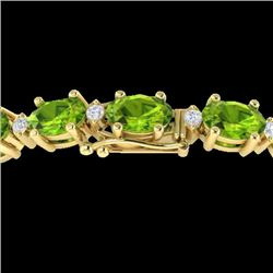 19.7 CTW Peridot & VS/SI Certified Diamond Eternity Bracelet 10K Yellow Gold - REF-118M5F - 29374