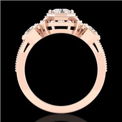 1.01 CTW VS/SI Diamond Solitaire Art Deco 3 Stone Ring 18K Rose Gold - REF-200M2F - 36882