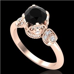 1.75 CTW Fancy Black Diamond Solitaire Engagement Art Deco Ring 18K Rose Gold - REF-134F5N - 37402