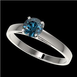 0.76 CTW Certified Intense Blue SI Diamond Solitaire Engagement Ring 10K White Gold - REF-70M5F - 36