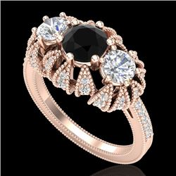 2.26 CTW Fancy Black Diamond Art Deco Micro Pave 3 Stone Ring 18K Rose Gold - REF-218K2W - 37745