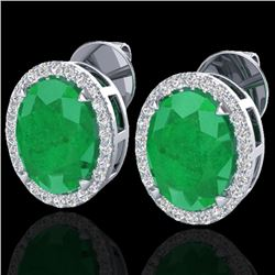 5.50 CTW Emerald & Micro VS/SI Diamond Halo Earrings 18K White Gold - REF-81V8Y - 20248