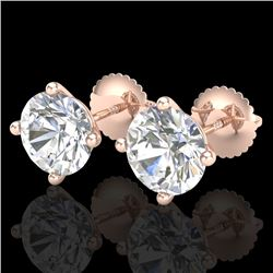 3.01 CTW VS/SI Diamond Solitaire Art Deco Stud Earrings 18K Rose Gold - REF-927X3R - 37311