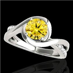 1.15 CTW Certified SI/I Fancy Intense Yellow Diamond Solitaire Ring 10K White Gold - REF-163V6Y - 34