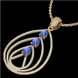 2 CTW Tanzanite & Micro VS/SI Diamond Certified Designer Necklace 18K Yellow Gold - REF-138F2N - 224